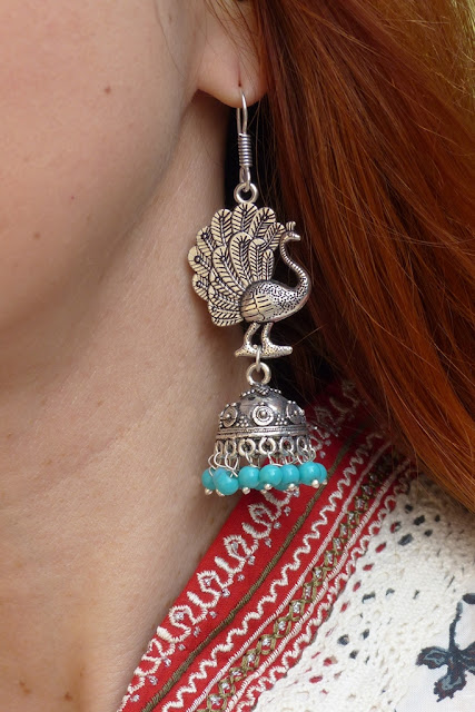 Indian style peacock earrings