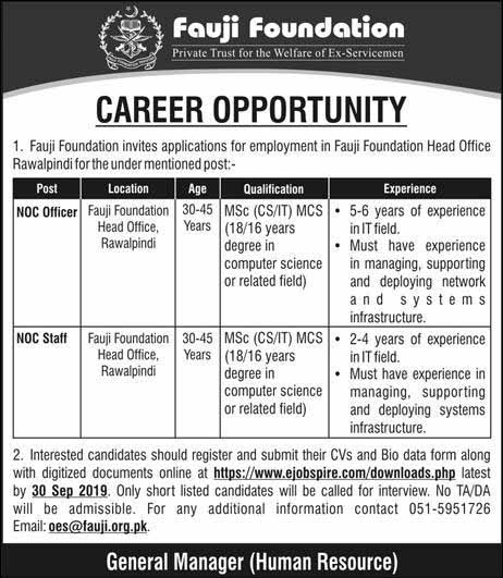 Career Opportunities in Fauji Foundation