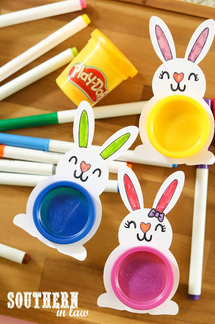 No Chocolate Easter Gifts with the Cricut Maker - Free SVG Files for Easter - PlayDoh Bunnies Classroom Gift Ideas copy