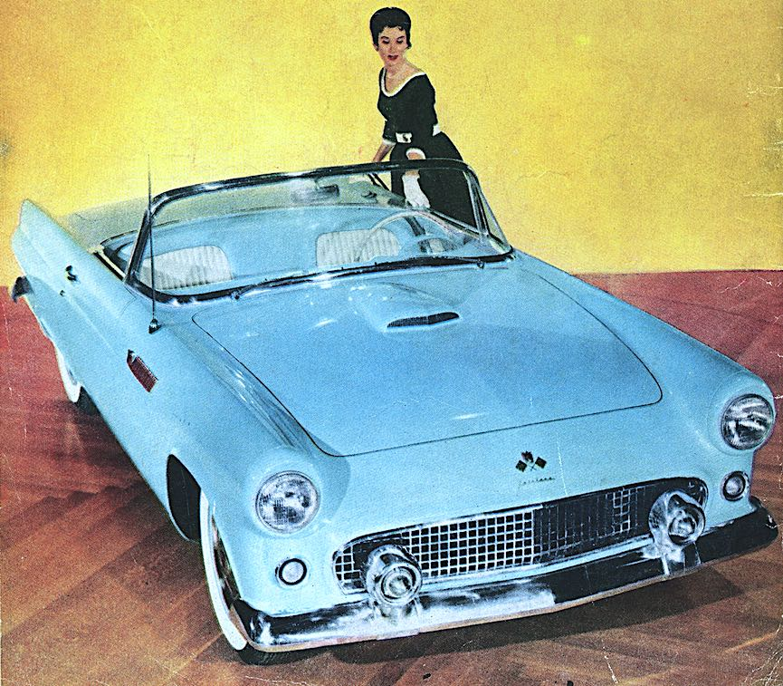 color photograph of a 1950s Thunderbird: this color was called baby blue or powder blue