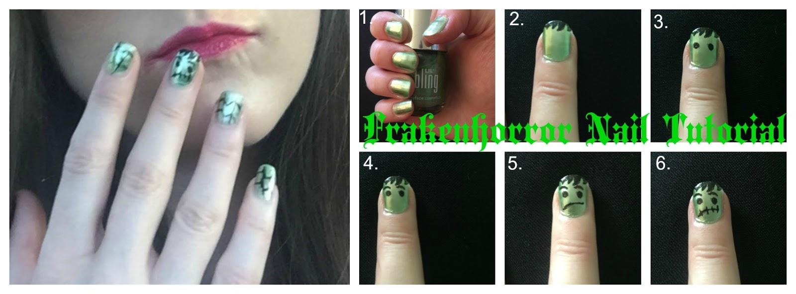 frankenstein halloween nail tutorial