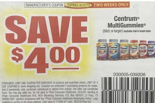 "$4/1 Centrum MultiGummies Coupon From ""RMN"" Insert Week Of 9/8 (Exp:9/22)."