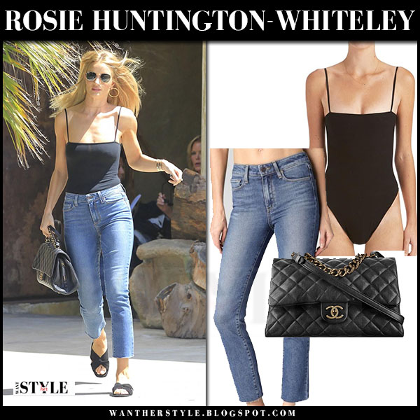 Rosie Huntington-Whiteley in black bodysuit, straight jeans and black sandals what she wore streetstyle