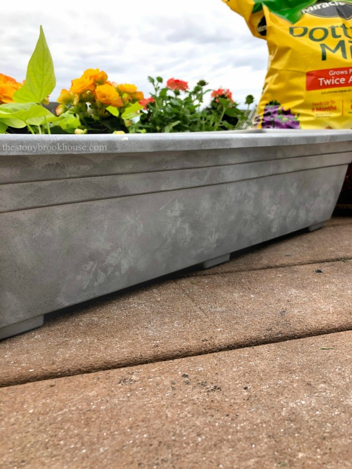 Faux galvanized look on plastic window box