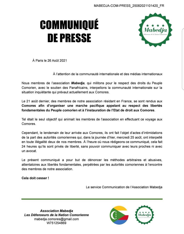 Mabedja interpelle la communauté internationale sur «la situation inquiétante aux Comores»