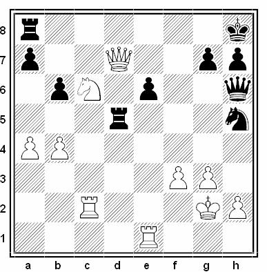 Posición de la partida de ajedrez Fernando Alberto Braga - Óscar Pérez (Open de Las Palmas, 1991)