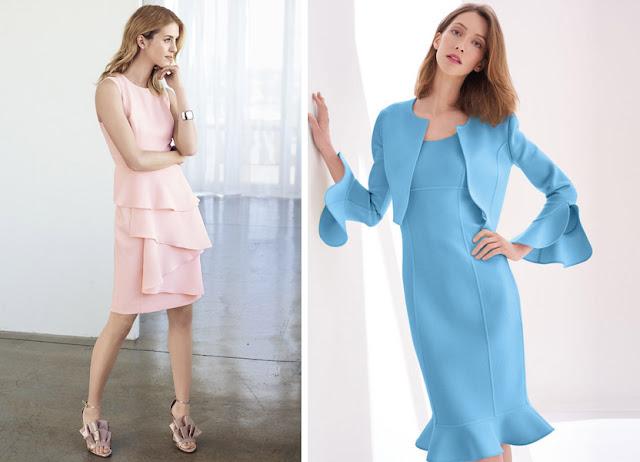 Девушки в розовом и голубом платьях с воланами