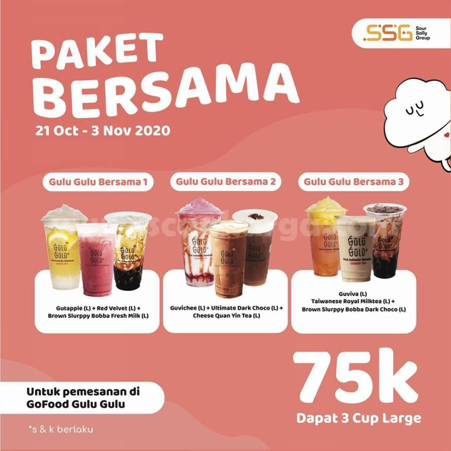 Promo GULU GULU Paket Bersama Gofood -  Beli 3 Cup Large cuma Rp 75.000