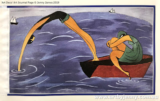 Artwork inspired my painting of antique pelicans and Art Deco design