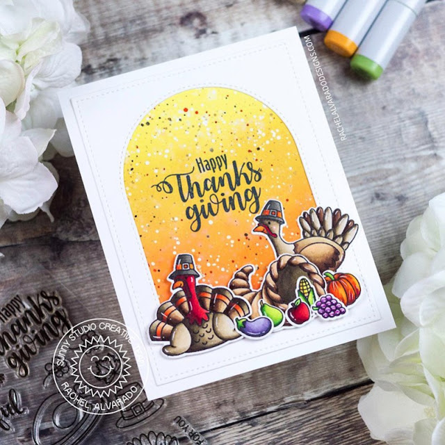 Sunny Studio Stamps: Bountiful Autumn Stitched Arch Dies Thanksgiving Card by Rachel Alvarado