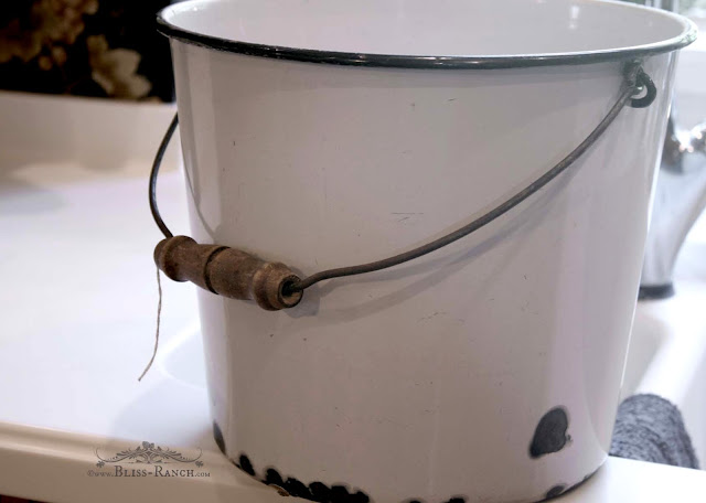 Stenciled Enameled Bucket Planter Bliss-Ranch.com