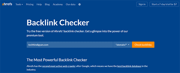 Ahrefs Backlink Checker (Free)