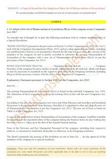 resolution for adoption of new set of memorandum of association as per companies act 2013