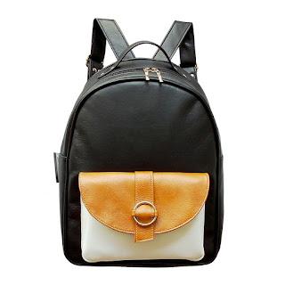 Mochila XL Cuero Eco Bolsillo Aro en Color Negro Blanco y Suela