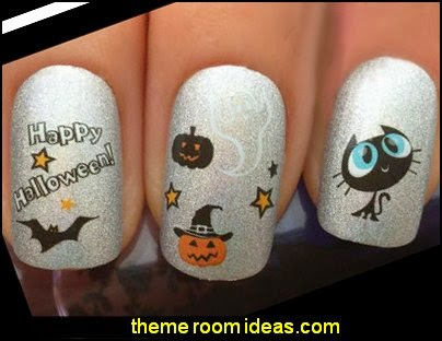 NAIL ART WRAP WATER DECALS TRANSFERS STICKERS SET HALLOWEEN PUMPKIN GHOST