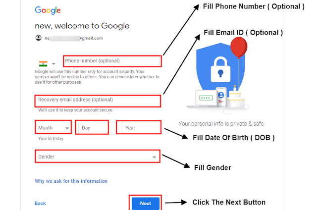 Step #8 Mobile Number , Email ID ,जन्म तारीक , Gender  Fill कर