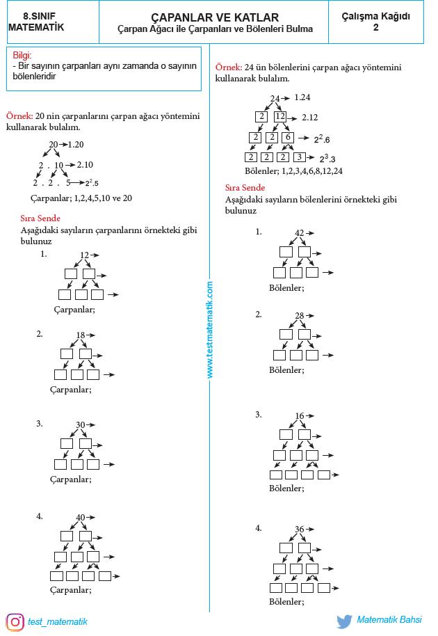 Carpan Agaci Calisma Kagidi Test Matematik