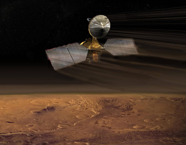 Imagen de Mars Global Surveyor acercándose a Marte (1996-1997)