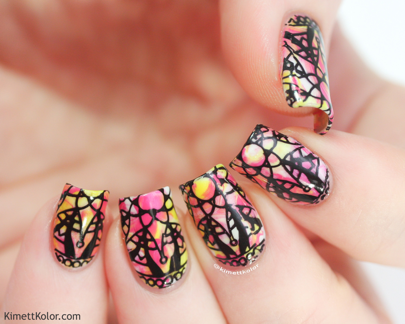 KimettKolor Stamping in Black Nail Art Tips