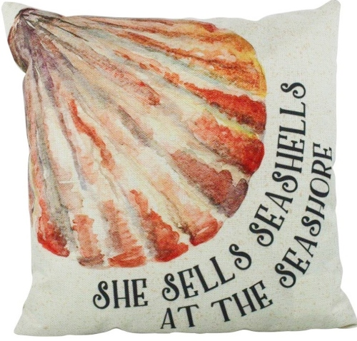She Sells Seashells Quote Pillow