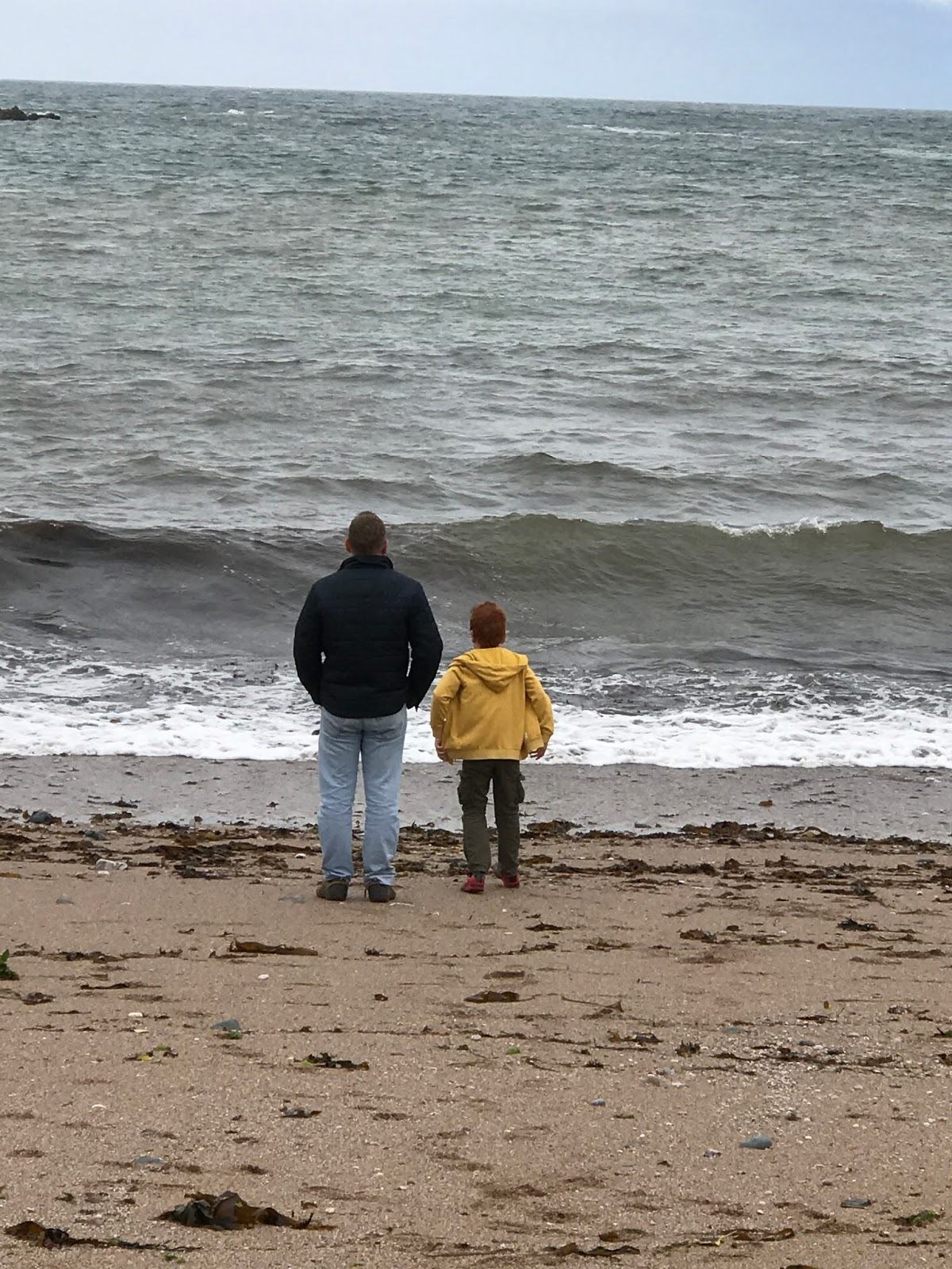 Mat and Ieuan on Thurlestone Beach, Devon - the importance of outdoor play