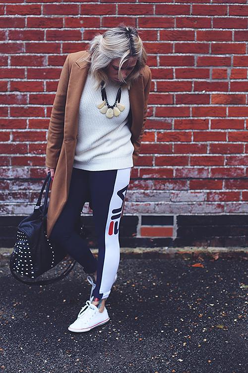 fila leggings. fila leggings: jd sports, £28* / bag: primark {old} jumper: h\u0026m, leggings