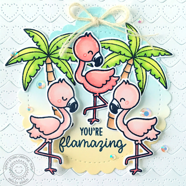 Sunny Studio Stamps: Heartstrings Border Dies Fabulous Flamingos Sending Sunshine Scalloped Tag Circle Dies Everyday Card by Ashley Ebben