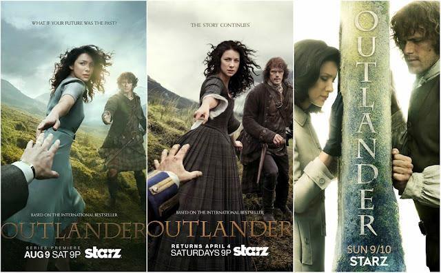 Como visitar os cenários de Outlander na Escócia - posters de todas as temporadas
