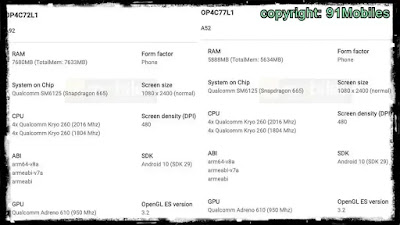 oppo a92, oppo a52  listing