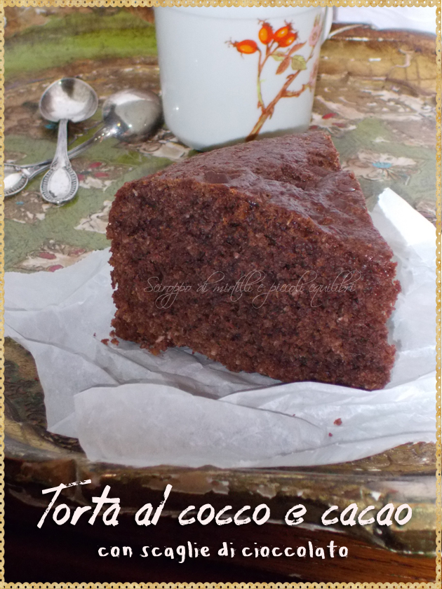 Torta al cocco e cacao con scaglie di cioccolato