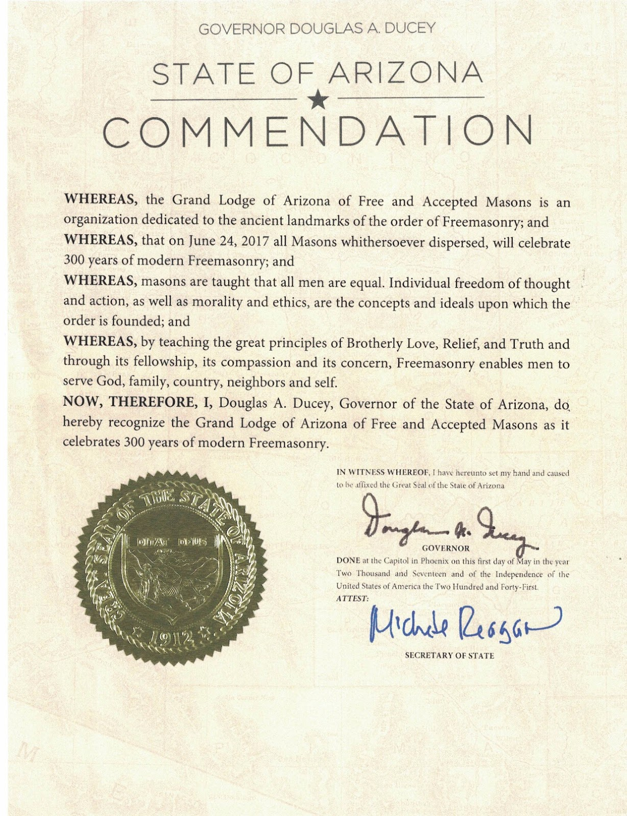 Arizona's Governor Douglas Ducey Has Officially Proclaimed June 24th, 2017  As 'freemasonry Day' All Across The Grand Canyon State Tomemorate The  300th