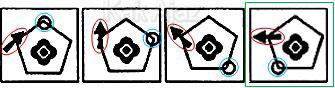 Pembahasan Soal Figural No. 38 TKPA SBMPTN 2016 Kode Naskah 602, pola gambar: rotasi 45 derajat, mengelilingi sudut objek