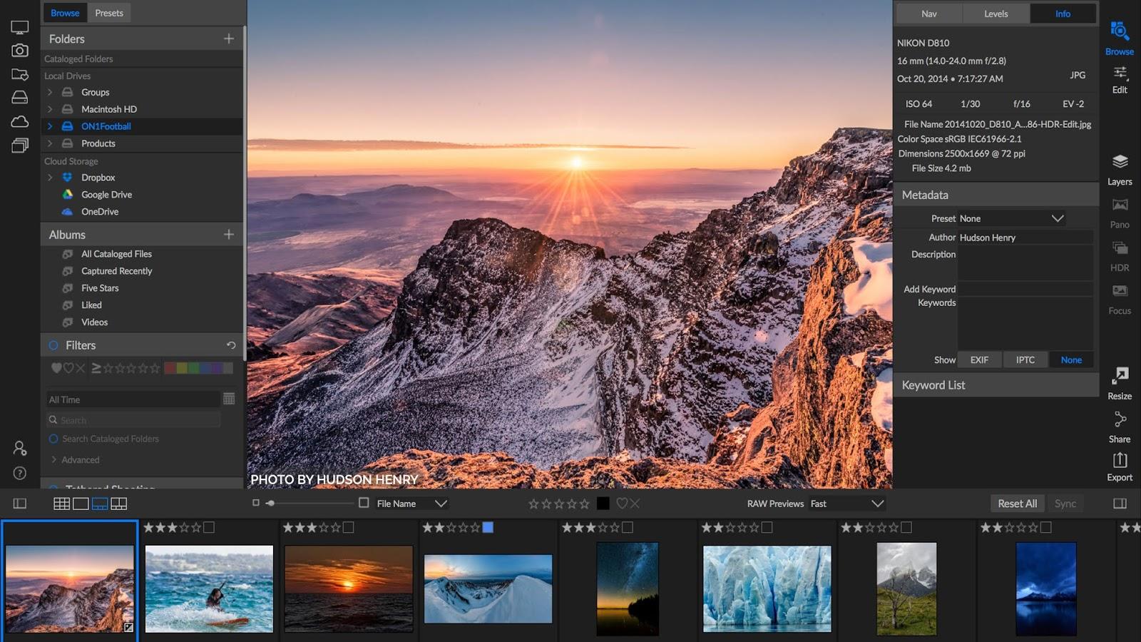 تحميل برنامج ممتاز عبارة عن معالج RAW متطور وسريع ومرن وقوي ومحرر الصورON1 Photo RAW 2020