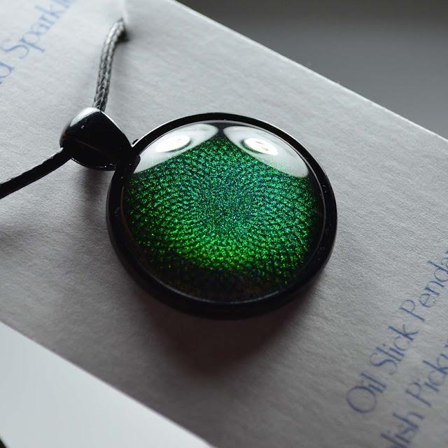 teal shimmer nail polish pendant