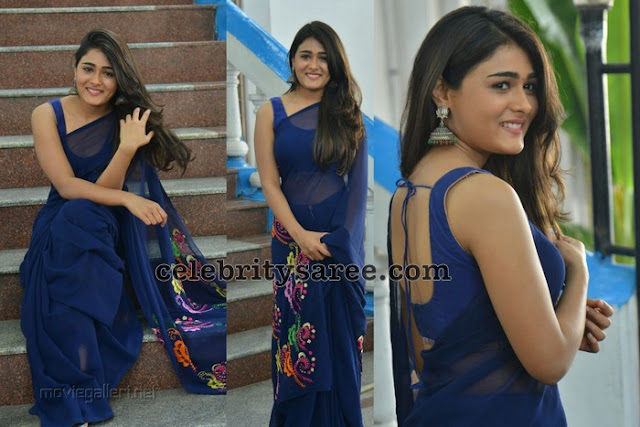 Shalini Pandey Blue Georgette Saree