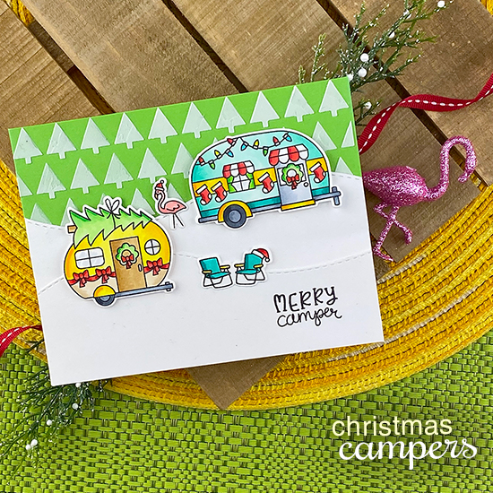 Merry Camper | Camper decorated for Christmas card by Jennifer Jackson | Christmas Campers Stamp Set, Tiny Trees Stencil, and Land Borders Die Set by Newton's Nook Designs #newtonsnook #handmade