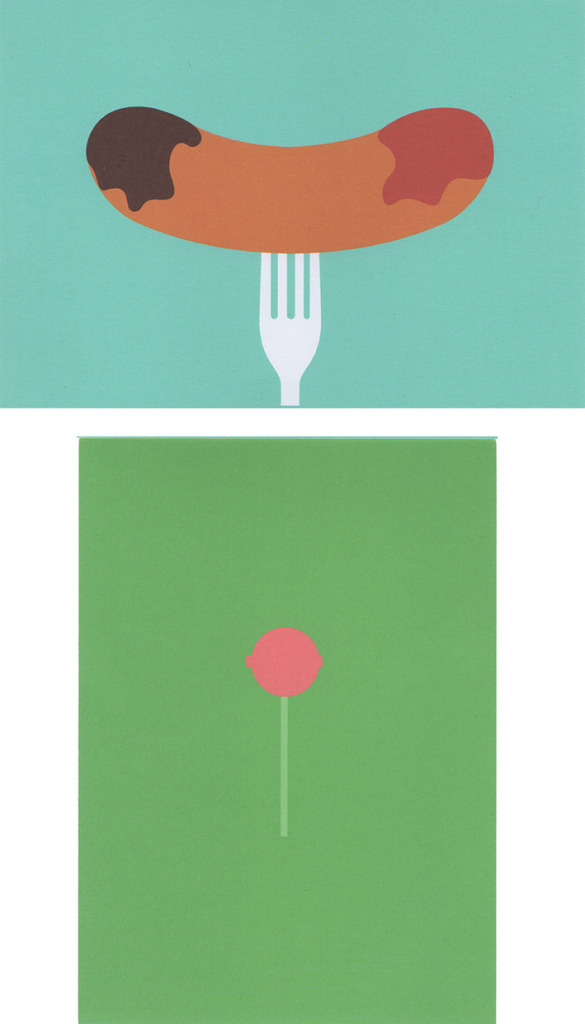 Alice Todd's artwork of a sausage on a fork, with brown sauce and ketchup on either end of the sauasage, with a blue background, and of a pink lollipop on a light green stick, with a darker green for the background