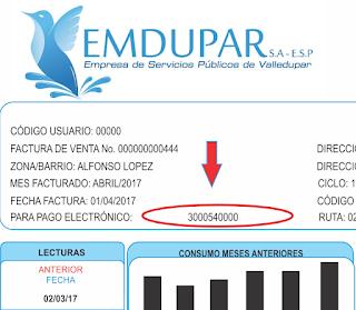 Consultar, Descargar, Imprimir Pagar Duplicado Factura de Emdupar por Internet en Linea PSE 2020