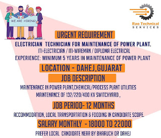 Urgent Requirement ITI and Diploma Holders Hiring For Electrician & Technician For The Maintenance Of The Power Plant.