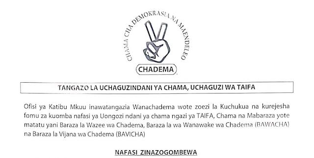 Uchaguzi Mkuu CHADEMA Kufanyika Desemba 18, 2019