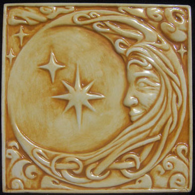 8x8 Relief Carved Celtic Moon Woman Ceramic Tile