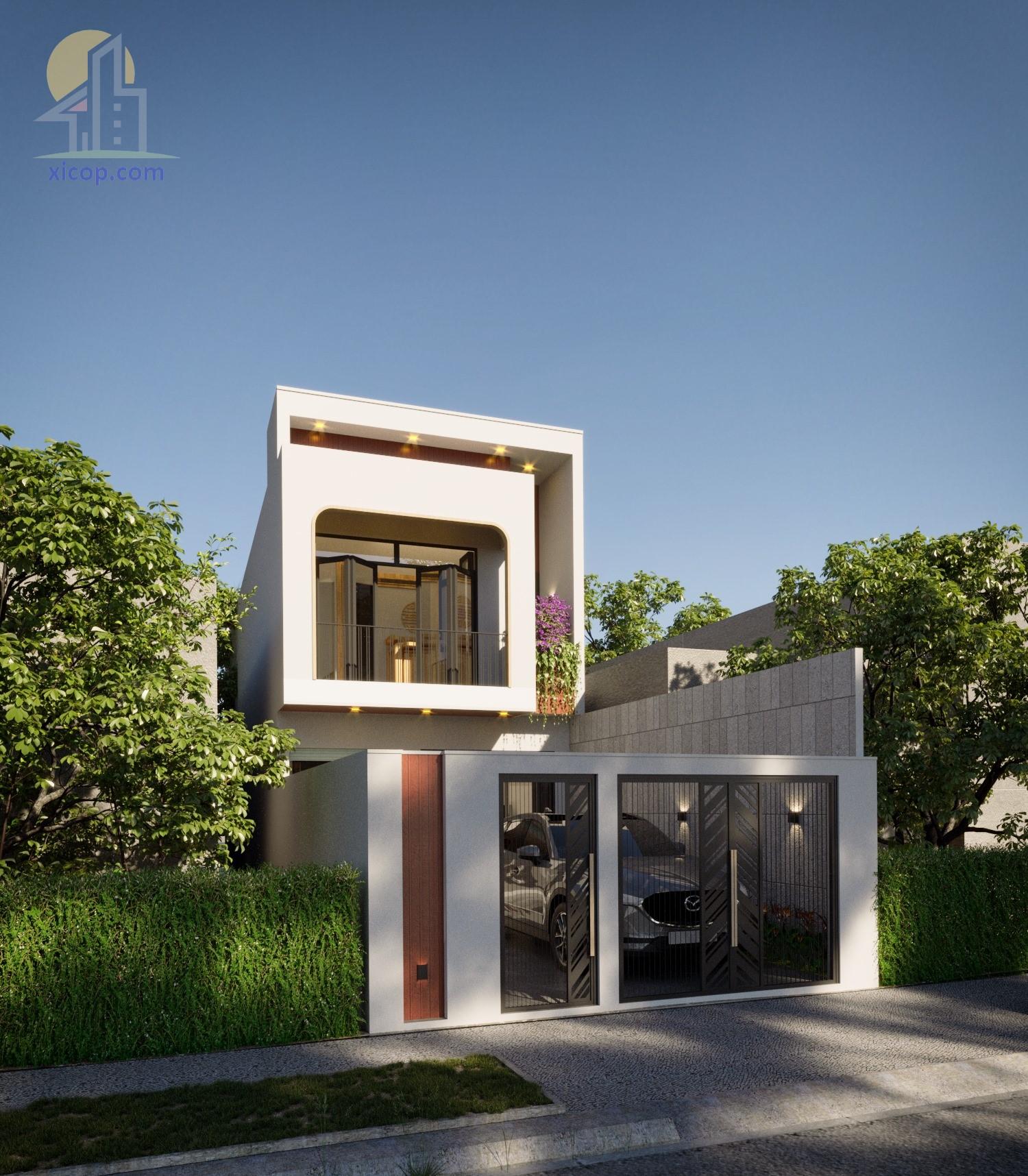 Mẫu nhà 2 tầng mái bằng đơn giản thiết kế đẹp hiện đại