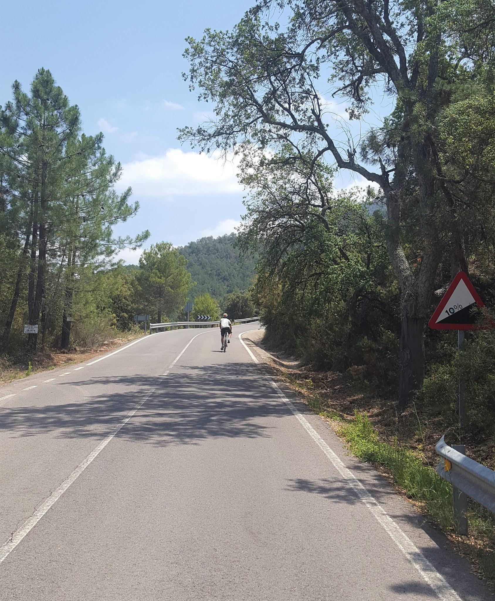 Ultradistance cyclist @sebicicleta cycling in Serra d'Espadà, Castellón. Spain
