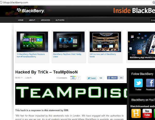 BlackBerry blog site hacked by TriCk – TeaMp0isoN against London riots