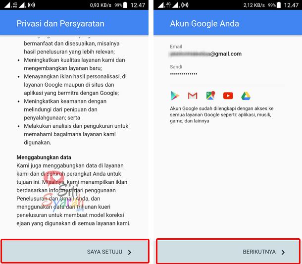 menambahkan email baru di android
