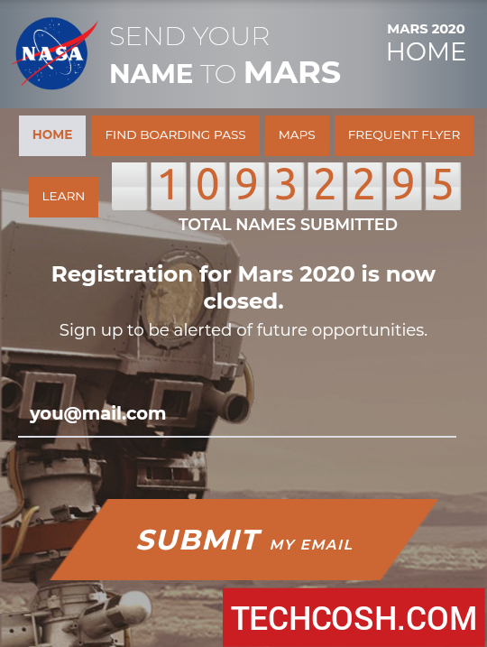 SEND YOUR NAME TO MARS : MARS 2020 Registration