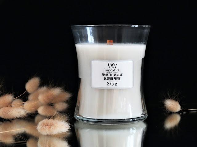 bougie parfumée woodwick, woodwick candle smoke jasmine, woodwick smoke jasmine candle review