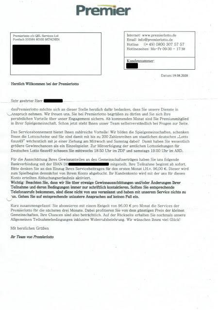 Scan: Begrüßungsschreiben Premierlotto / Aug 2020