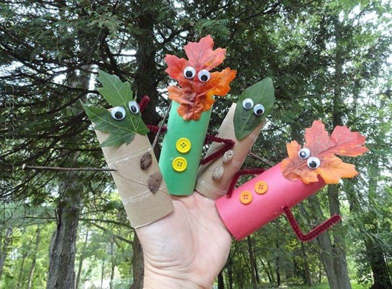 fall leaf finger puppet craft