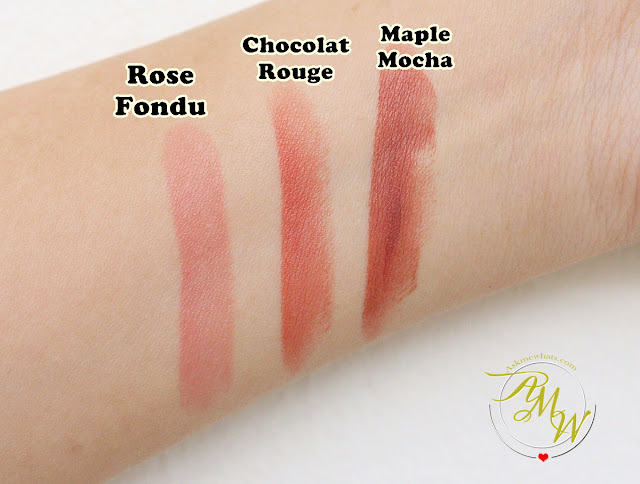 a swatch photo of L'Oreal Color Riche Lipsticks in Maple Mocha, Rose Fondu and Chocolat Rouge